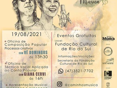 Caminhos da Música promove oficinas e apresentação do duo Floradas e Cigarras em Rio do Sul