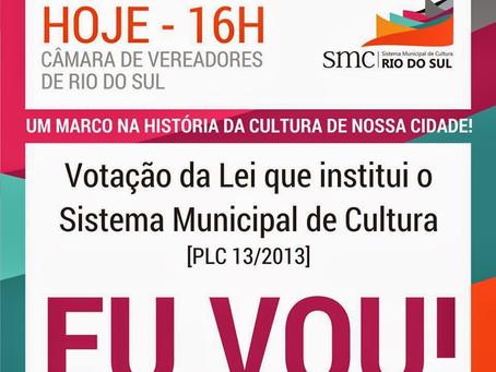 Lei que institui o Sistema Municipal de Cultura será votada hoje