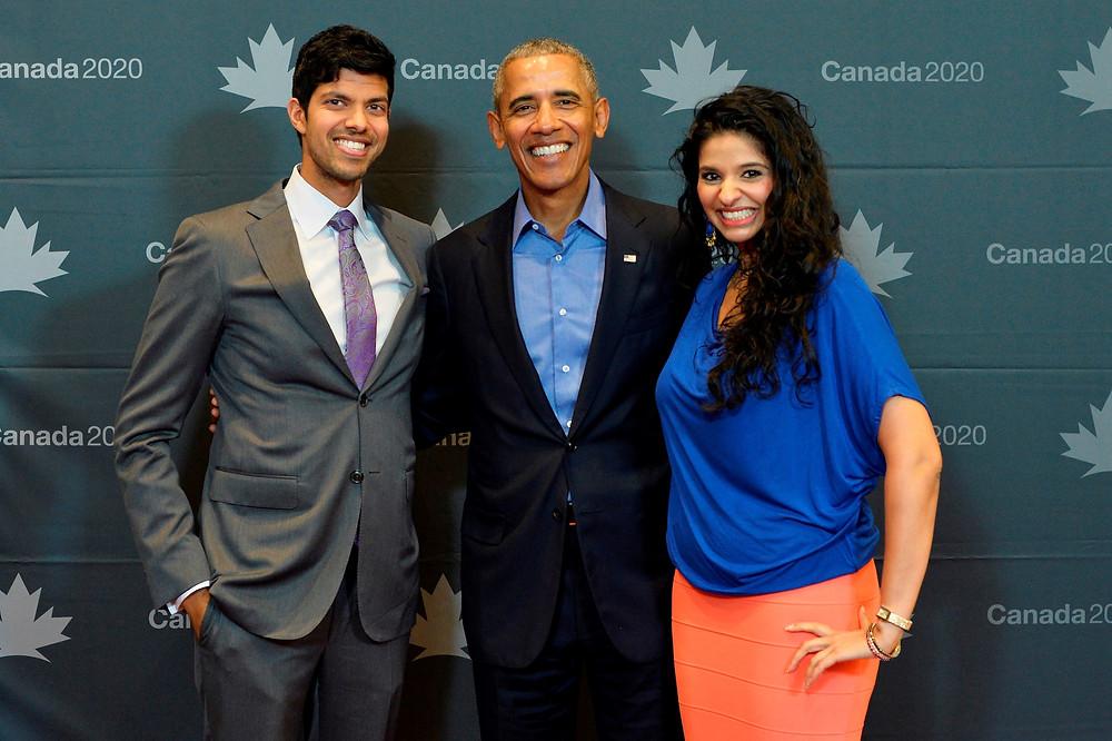 Suraj Gupta [left] and Reetu Gupta [right] pictured here with former President Barack Obama.