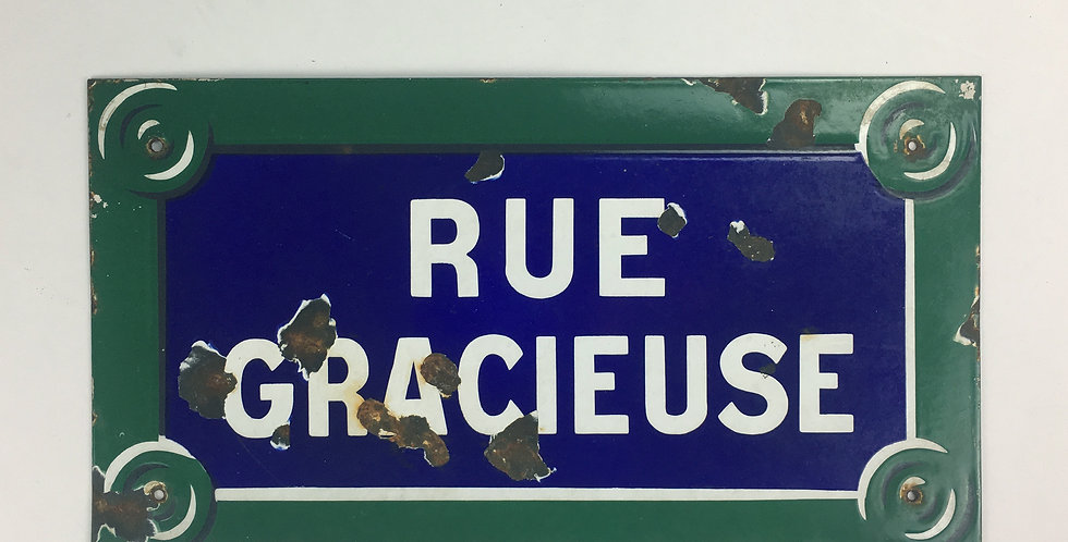 Vintage Parisian Street Sign for 'RUE GRACIEUSE'