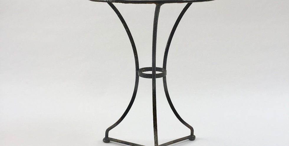 Vintage French bistro table in black, with wear and patina