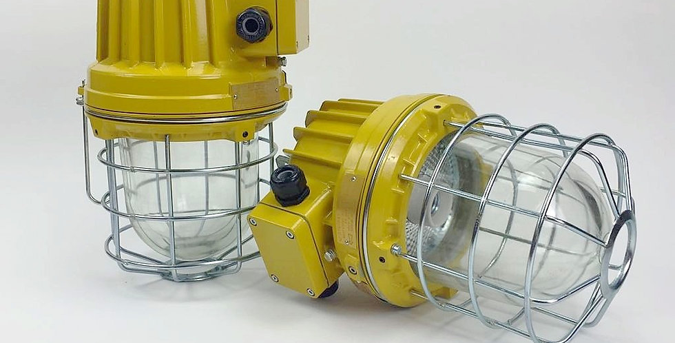 Yellow Industrial Caged Pendant Lights, Pair