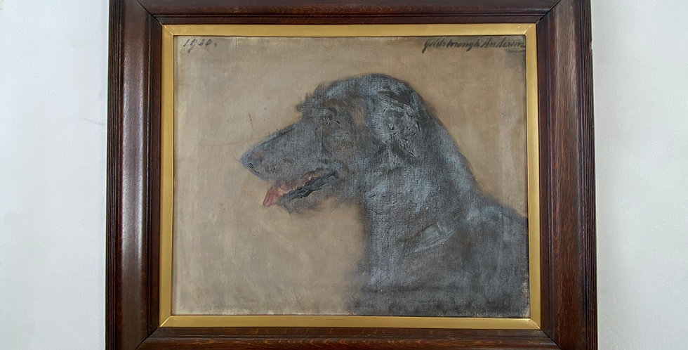 Naive Dog Portrait on Canvas