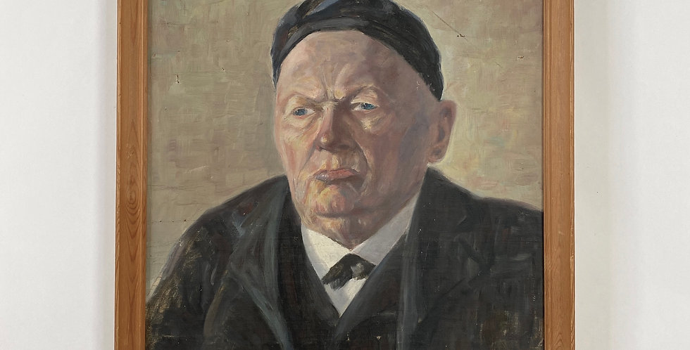 Characterful French Oil Portrait of an old Man