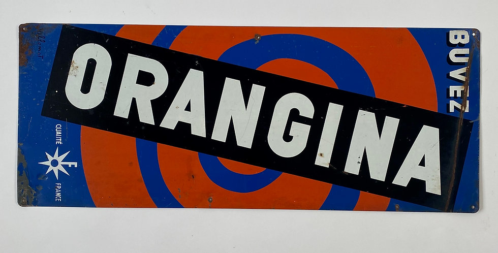 A rare and collectible French Orangina metal advertising sign circa 1960s in bright orange, blue and black