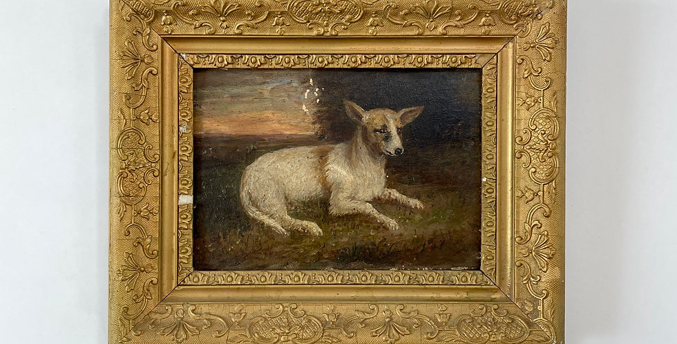 Gorgeous antique French painting of a sweet dog. Oil on board, in an ornate gold frame.