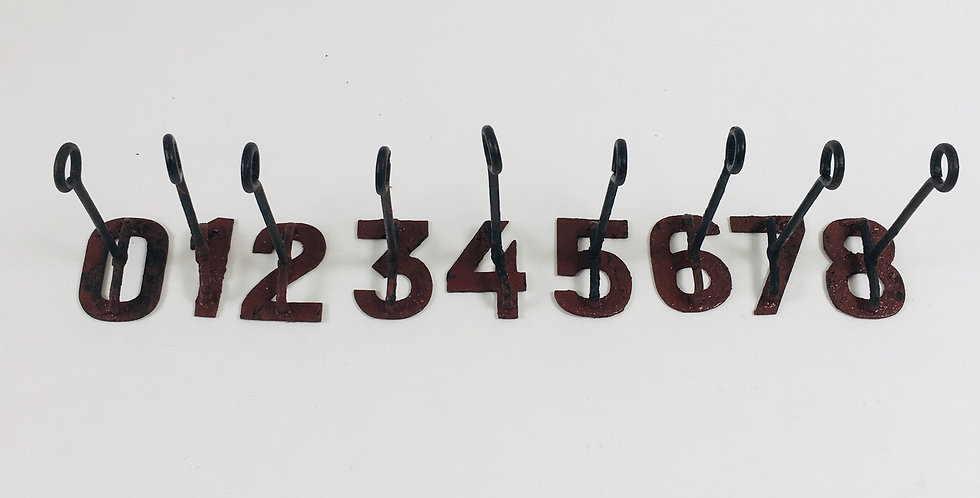 Set of vintage branding irons - numbers 0 to 8