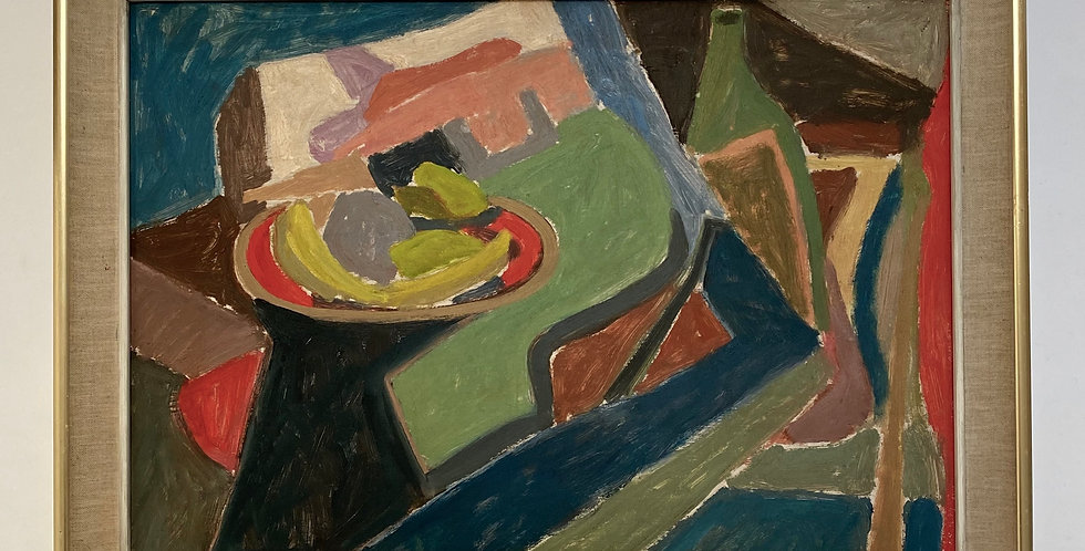 Colourful, mid-century, Swedish abstract still life painting of a fruitbowl and wine on a table, in a vintage French frame