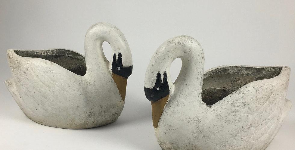 Pair of elegant white concrete swan garden planters