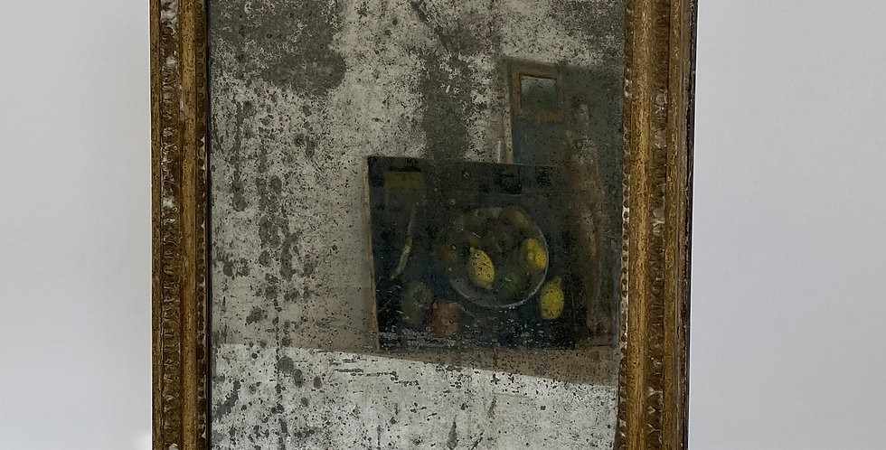 Antique French Distressed Mirror Mercury Glass