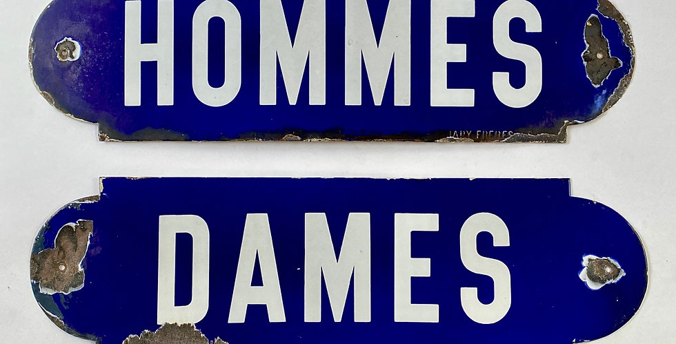 Pair of large French blue and white enamel Hommes and Dames Signs