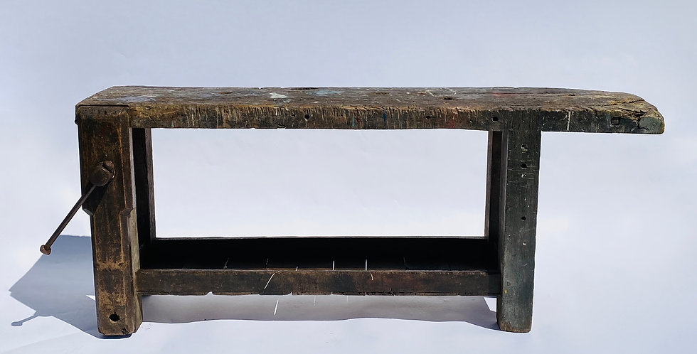 Antique industrial French workbench with paint-splashed textured single-plank top