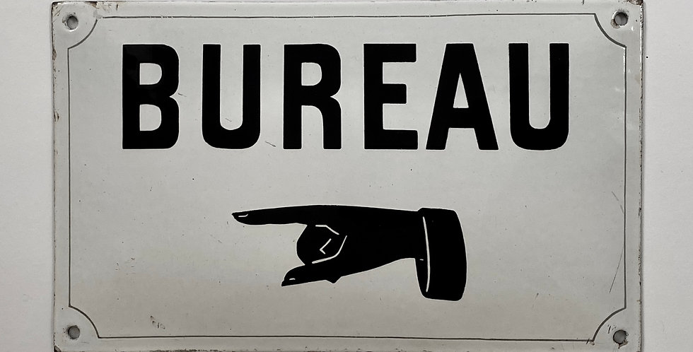Vintage French Enamel Sign in black with white background that reads 'Bureau' with pointing finger