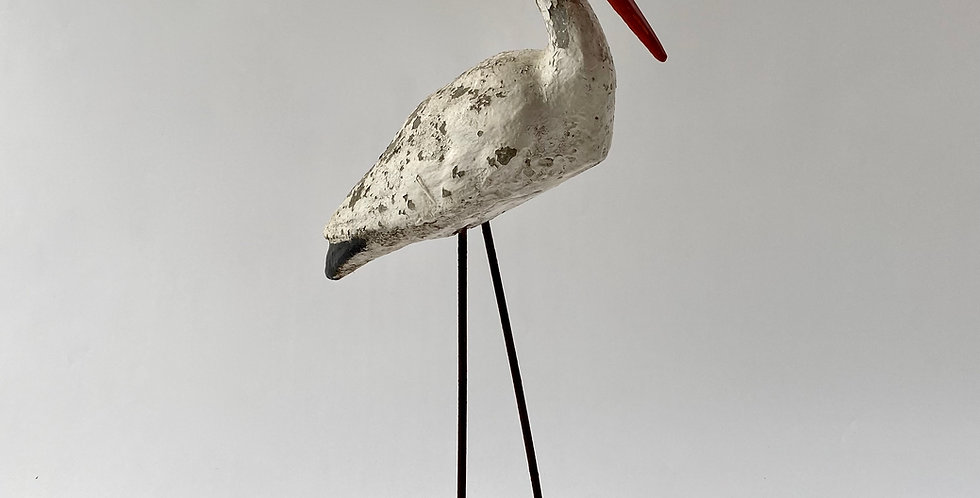 French 1950s concrete statue of a stork with a timeworn patina