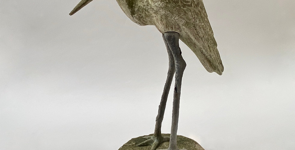 Vintage French concrete bird statue in the form of a heron or stork