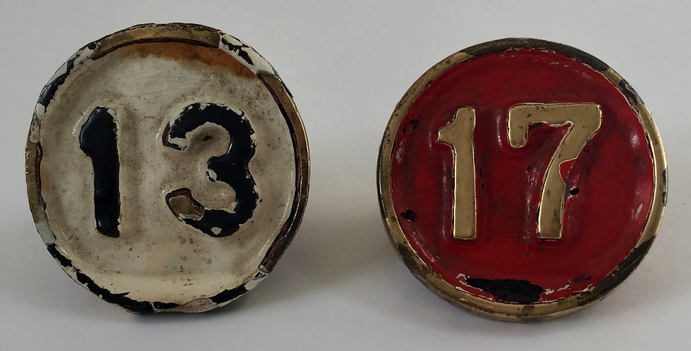 Vintage British Railway Brass Signal Box Lever Numbers 13 and 17