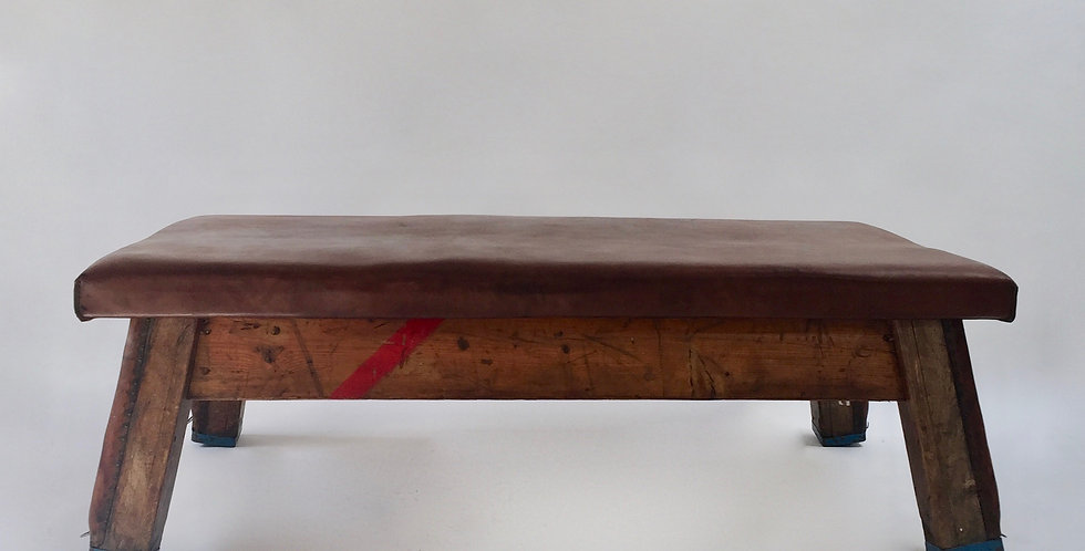 Large vintage leather gym bench