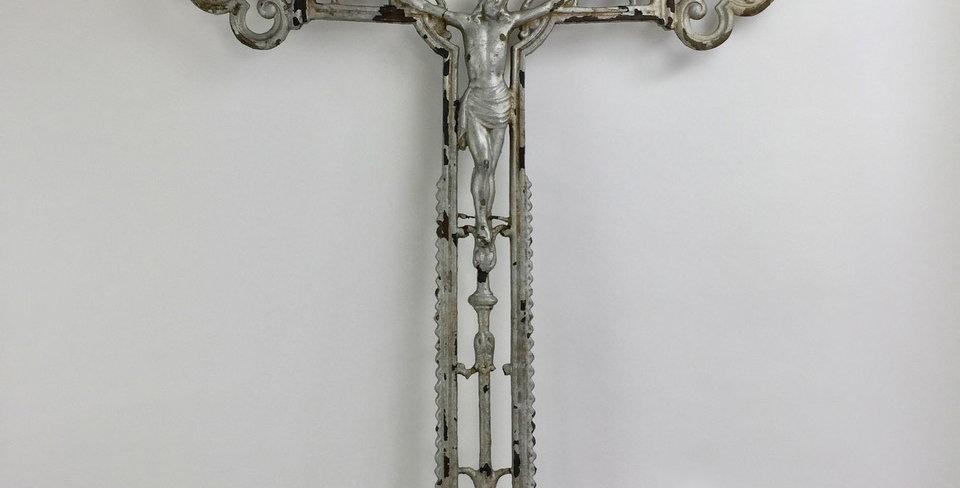 Antique Crucifix Religious Cross made of Cast Iron