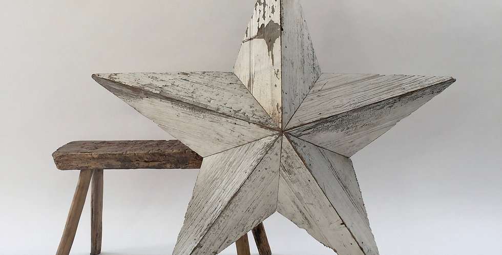 Vintage Large Amish Wooden Barn Star White