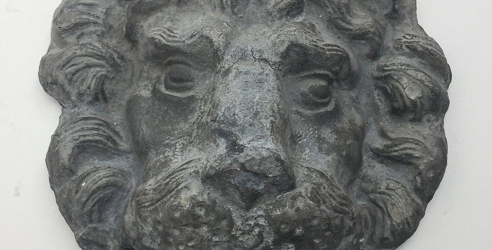 Antique Lead Plaque Lion's Head - front