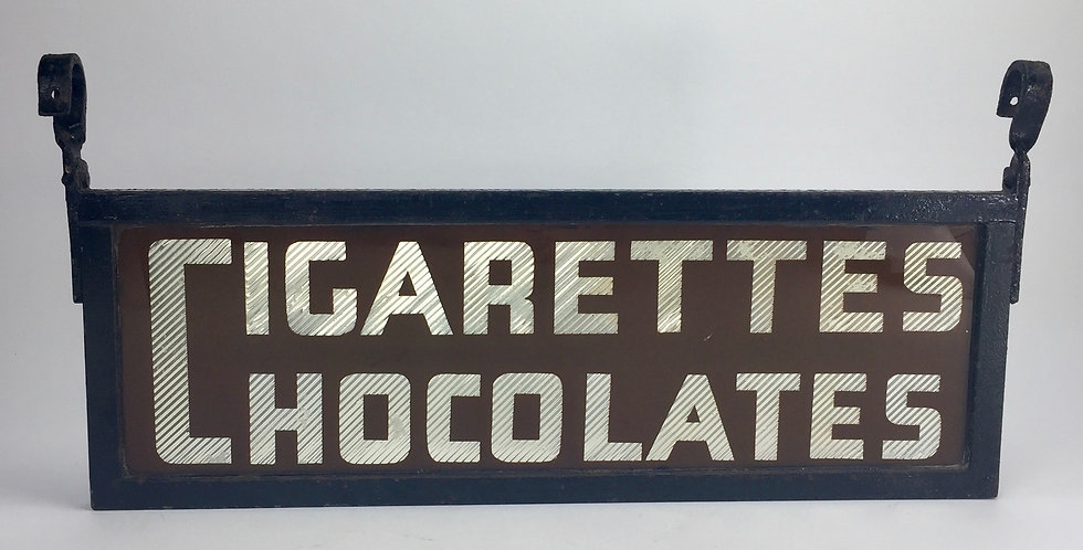 Vintage Rare Original London Art Deco Glass Shop Sign for Chocolates Cigarettes