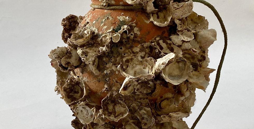 Antique Shell Encrusted Terracotta Pot / Octopus Pot