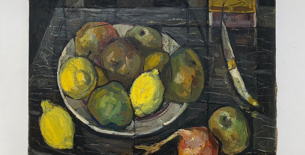 20th century still life painting on canvas featuring bright lemons and other fruits in a bowl