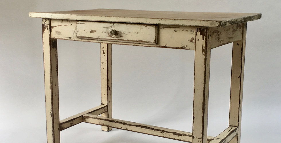 Vintage Rustic French Farmhouse Table with shabby and aged white paint