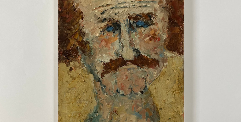 French Oil Painting of a Man with a Moustache - René Galant
