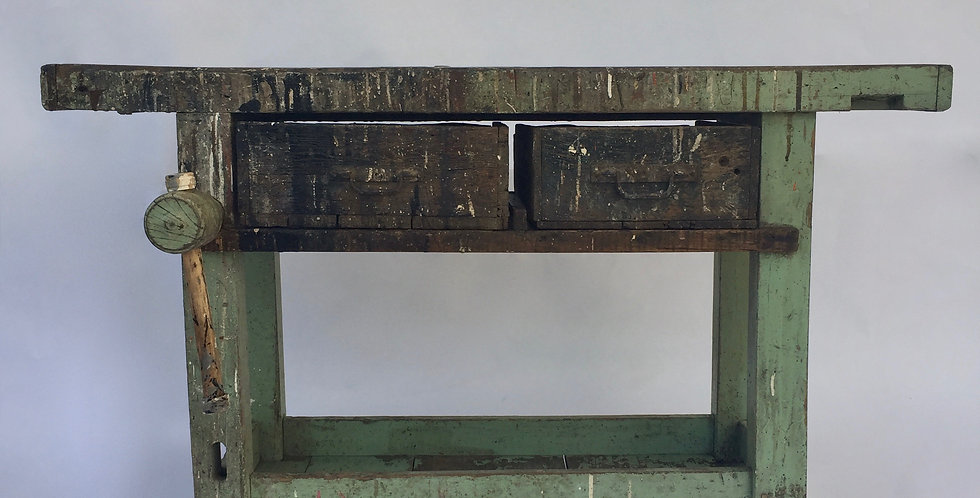 Vintage French Industrial Wooden Workbench with Old Green Paint