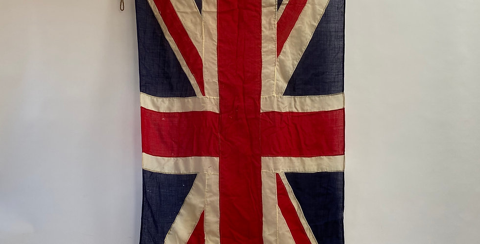 Large British Panel-Stitched WW2 Union Jack Flag with original Made in England stamp, and rope and toggle