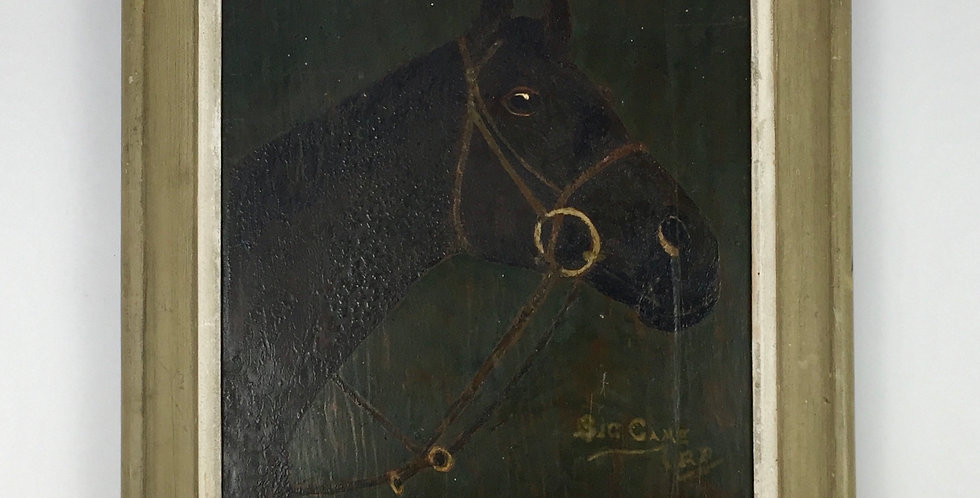 Naive Folk Art Painting of a Horse in a Wooden Frame