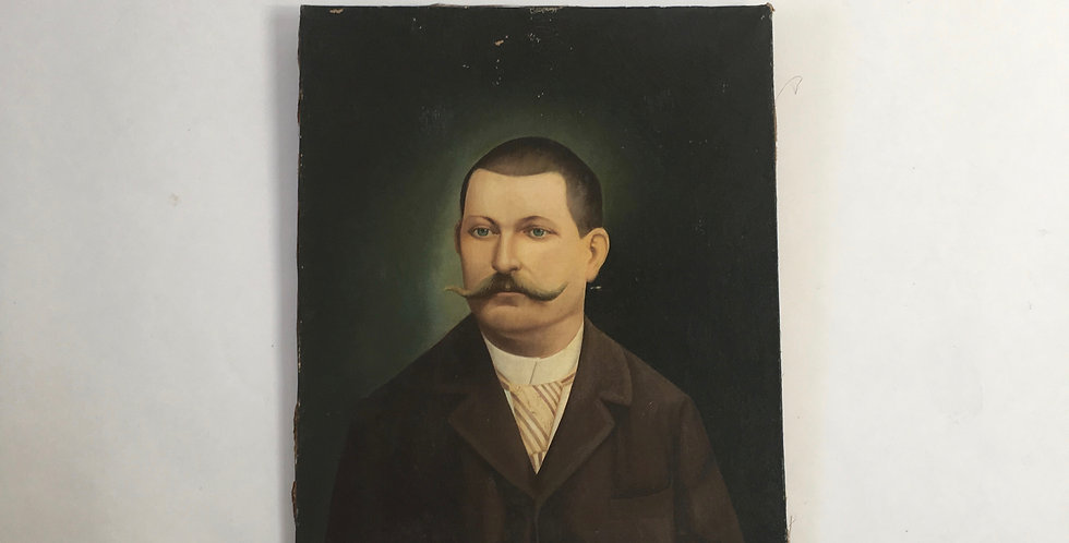 Antique French oil on canvas of a gentleman with lovely blue eyes and a magnificent moustache