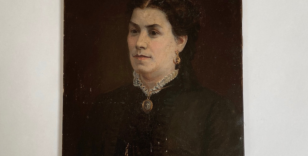 19th Century French Oil Portrait of a Woman with necklace