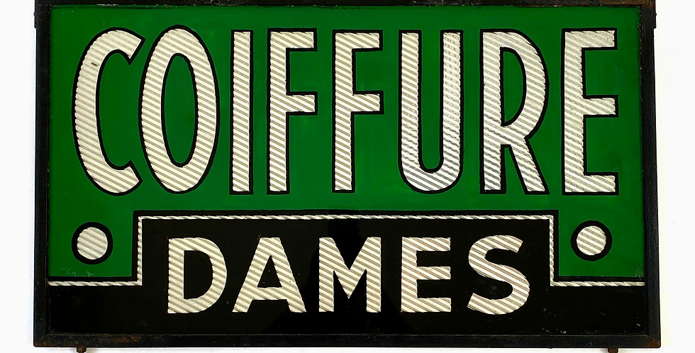 French COIFFURE DAMES Mirrored Glass Sign