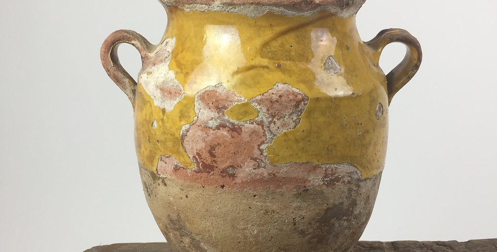 Antique French Terracotta Yellow Glazed Confit Pot