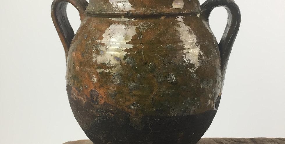 Antique French Terracotta Green Glazed Confit Pot