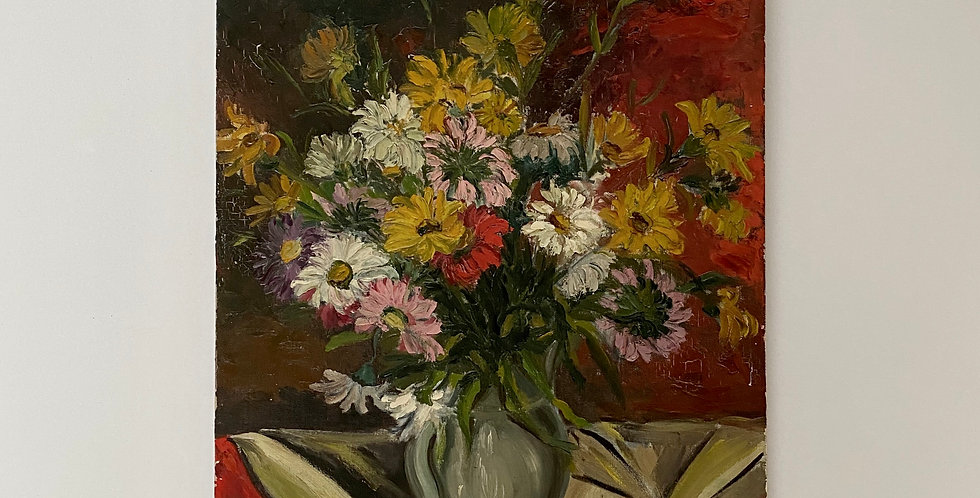 Beautiful and bright vintage French still Life painting of bright flowers in a vase