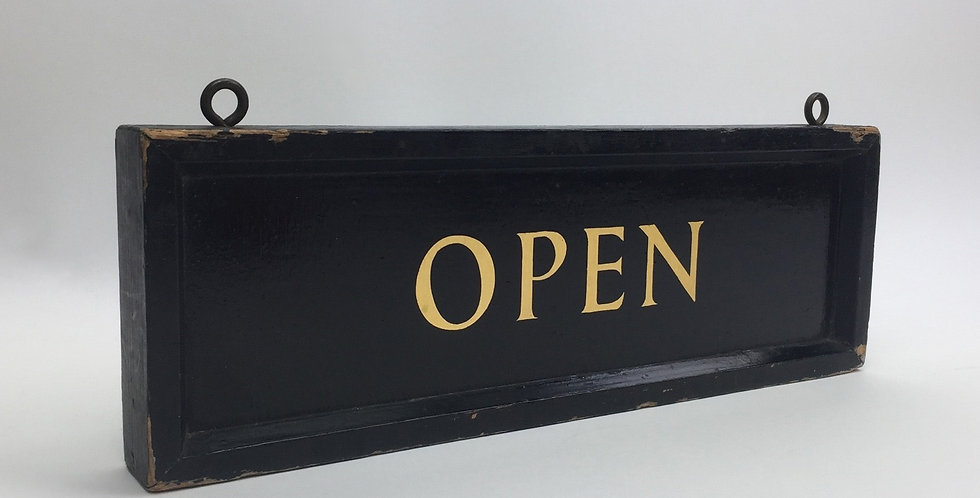 Vintage Hand-painted Black and Gold Open/Closed Sign - Open