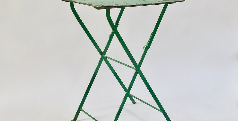 Vintage petite folding French bistro table with old green paint and a patinated, square top