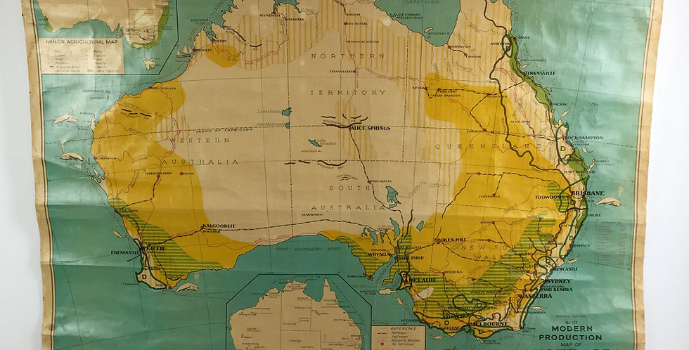 Vintage 1960s School Map of Australia