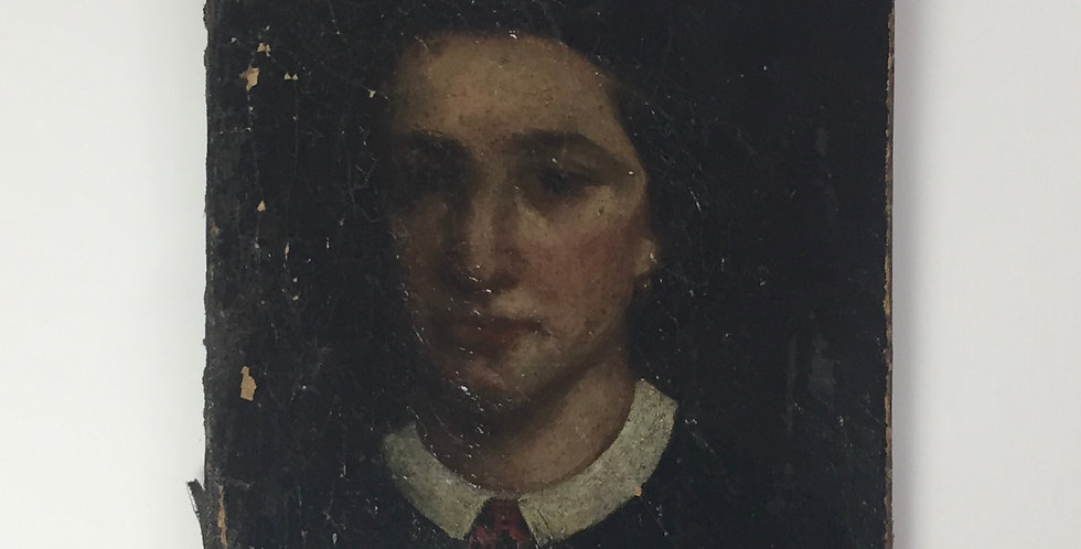 Early 19th Century French Portrait of a Girl on very old canvas