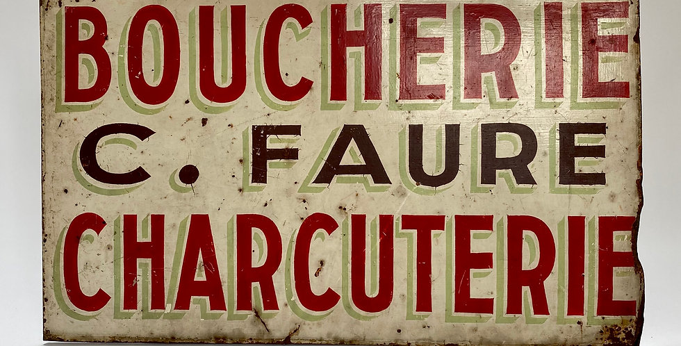Vintage French Boucherie Charcuterie Sign