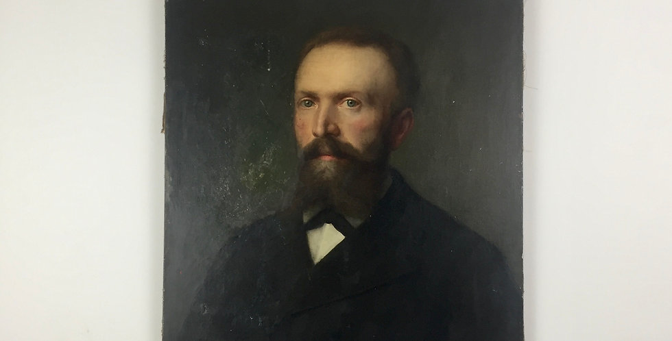 19th Century French Oil Portrait on canvas of a Bearded Gentleman with striking blue eyes