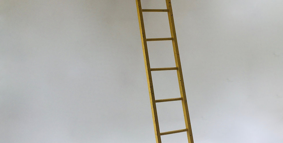 Vintage Industrial Metal Ladder with Old Yellow Paint
