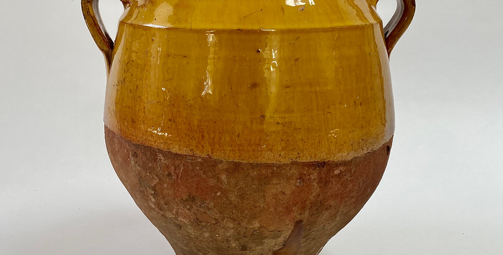 Large Antique French Yellow Glazed Confit Pot