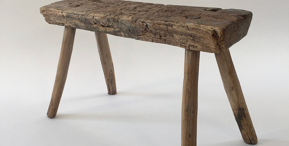 Antique Primitive Wooden Stool Bench