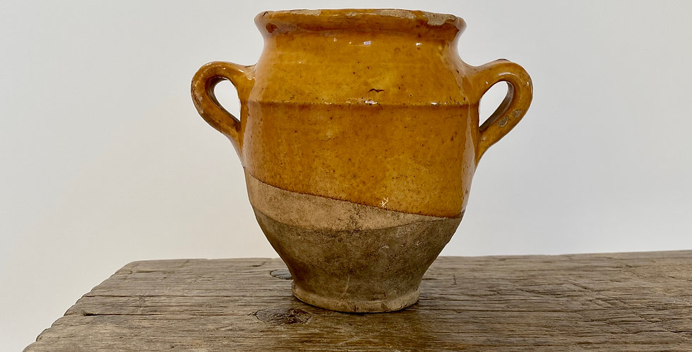 Antique French Terracotta Yellow Glazed Confit Pot X Small