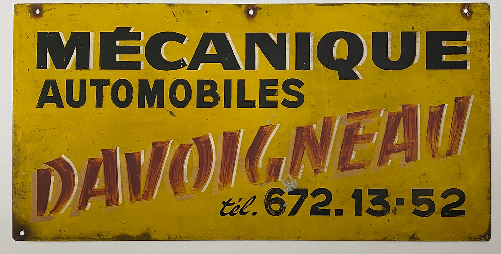 Vintage French Industrial Motor Garage Sign that reads Mecanique Automobiles Davoigneau in black and red on yellow background