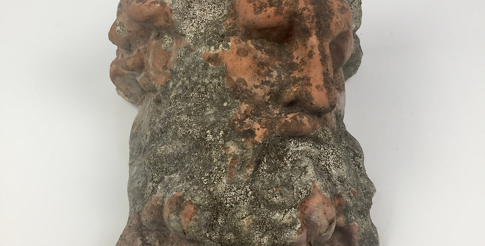 Beautiful antique terracotta wall maskor planter featuring the god Neptune, with stunning patina.